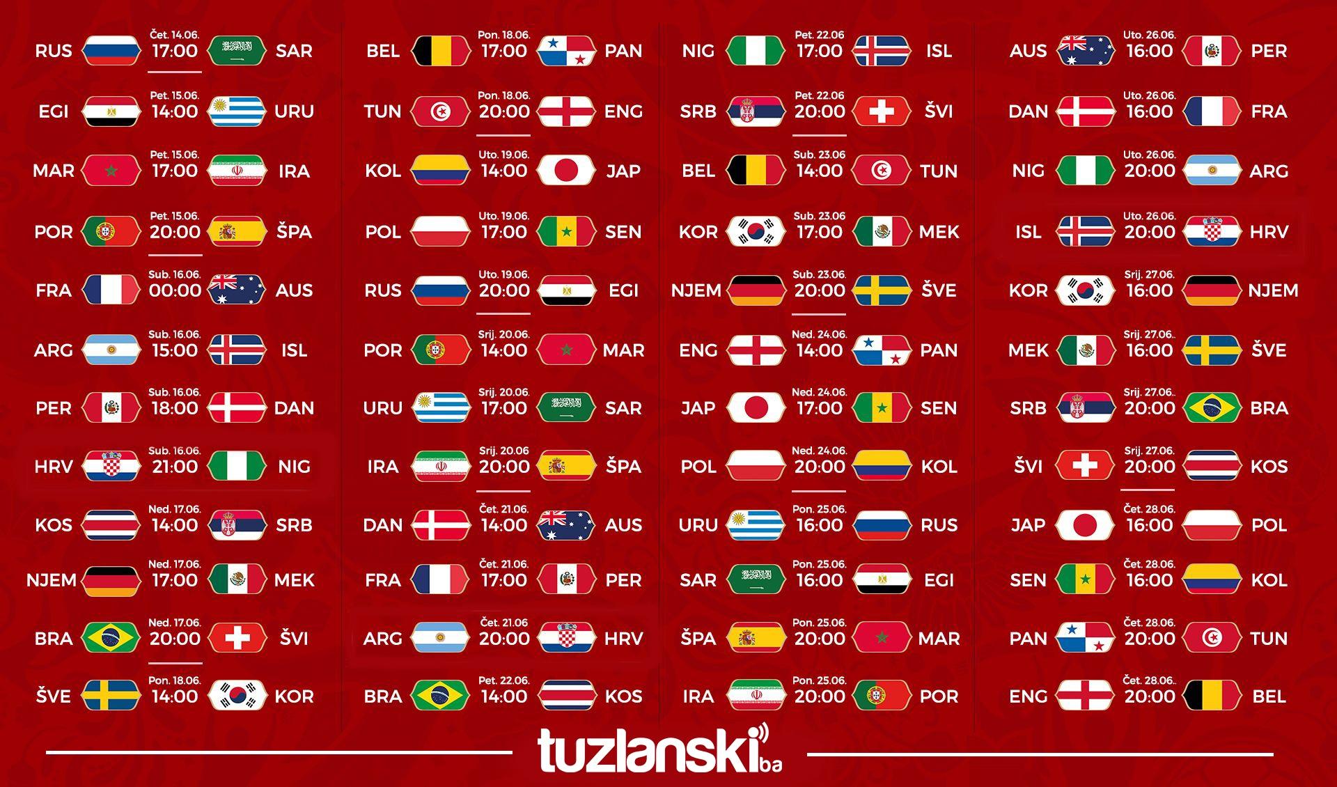 Raspored utakmica za Svjetsko prvenstvo u Rusiji