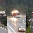 Jeziv snimak: Kamion pao s vijadukta visokog 20 metara, vozač poginuo